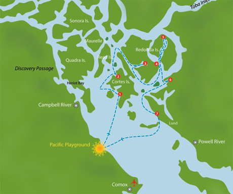 Desolation Sound Cruising route map